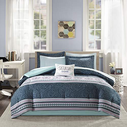 Intelligent Design Gemma Comforter Set Twin XL Size Bed in A Bag - Teal, Medallion Paisley – 7 Piece Bed Sets – Ultra Soft Microfiber Teen Bedding for Girls Bedroom, Blue (ID10-1221)