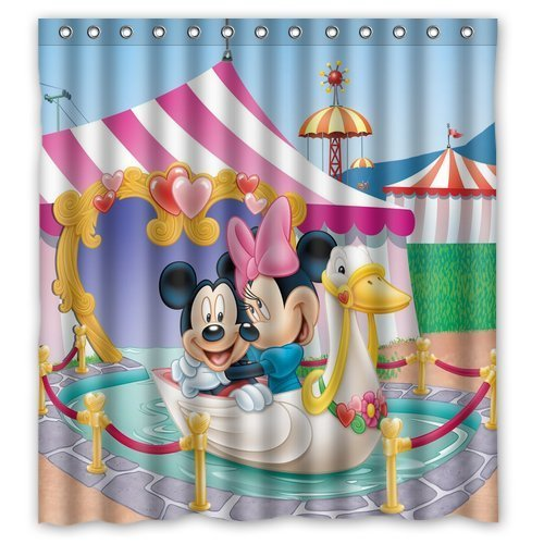 Mickey and Minnie Waterproof Fabric Shower Curtain
