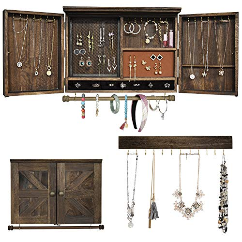 Rustic Wall Mounted Jewelry Organizer,Vintage Wooden Hanging Jewelry Holder Box with Barndoor Decor for Necklaces, Earings, Bracelets, Rings, Accessories. Includes Hook Organizer