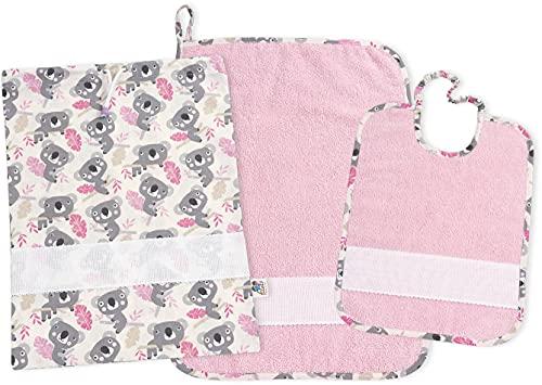 FILET, AMAS02555R, Set Asilo a Tema Koala, 100% cotone con tela aida da ricamare - Rosa