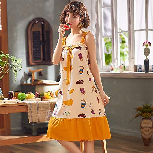 Handaxian Pijama Corto de algodón para Mujer Pijama Casual para Mujer Suelto con Almohadilla para el Pecho Vestido de Mujer 4 XXL