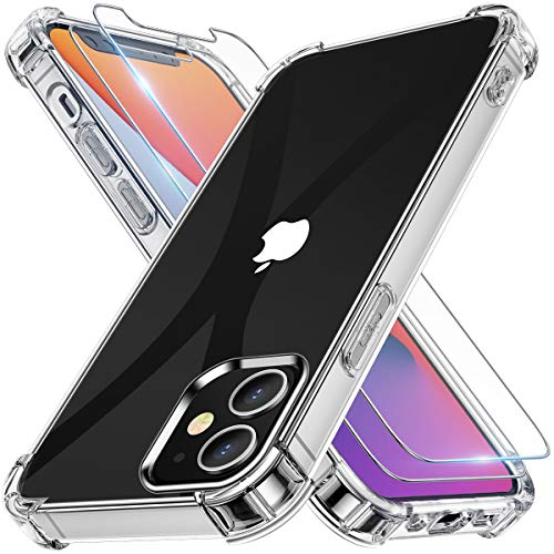 Alexcase Cover iPhone 12 Mini, Custodia iPhone 12 Mini con 2X Pellicole Temperate, Antiurto Anti-Ingiallimento TPU iPhone 12 Mini Cover Trasparente-5.4 inch