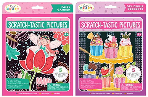 Bright Stripes Let's Craft Scratch-Tastic Scratch Art Pictures 2 Pack Bundle Fairy Garden & Delicious Desserts 2 Pack of Scratch and Reveal Scratch Art for Kids Activites