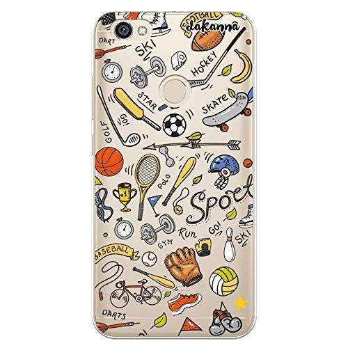 dakanna Funda para [Xiaomi Redmi Note 5A - Note 5A Prime] de Silicona Flexible, Dibujo Diseño [Pattern Figuras Deportivas, Tenis, Bicicleta, Futbol, Baloncesto y Gimnasio], Color [Fondo Transparente]