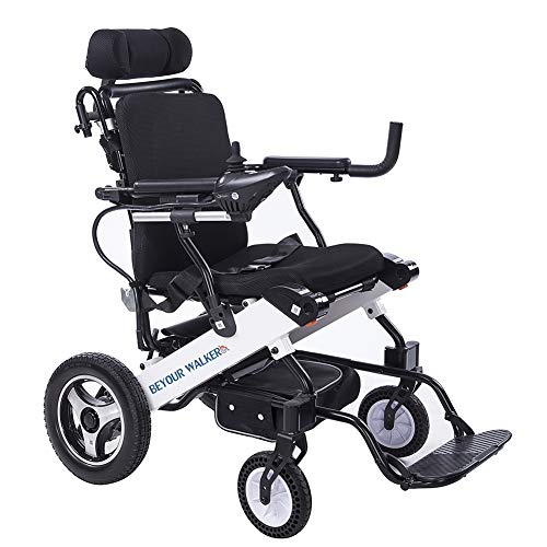 BEYOUR WALKER Electric Wheelchair, Foldable Mobility Aid Power Chair with Large Capacity Battery and Headrest