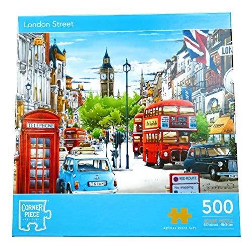 500 Piece Adult Jigsaw Puzzle   London Street Scene   UK English Cities   Landmarks   Capital Cities   Red Bus   Telephone Box   Shops   UK Cities   Mindfulness Activity