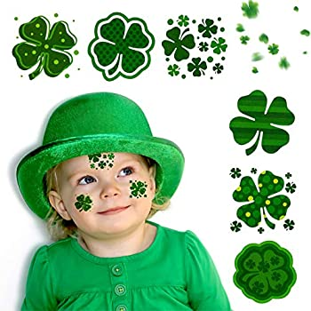 St Patrick s Day Shamrock Tattoos - 72 Pieces Temporary Tattoos Stickers for St Patrick s Day Parade Irish Green Party Window Decorations
