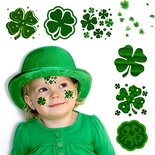 St. Patrick's Day Shamrock Tattoos - 72 Pieces Temporary Tattoos Stickers for St. Patrick's Day Parade Irish Green Party Window Decorations