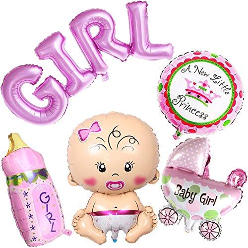 Ouinne 5 Piezas Bebé Globos Helio de Bautizo Bebé Ducha para Fiestas de Cumpleanos, Baby Showers (Niña)