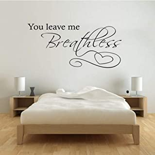 Romantic Love Quote You Leave Me Breathless Vinyl Wall Art Sticker Bedroom Wall Design 27x56cm