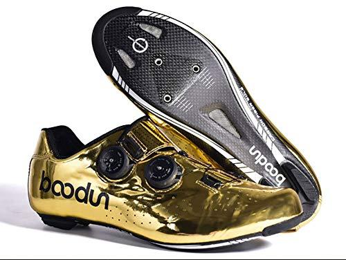 Zapatos de ciclismo de fibra de carbono dorada para bicicleta de carretera, zapatos de carreras, con hebilla de doble rotación para zapatos, agujero para bloqueo de zapatos, 39 EU