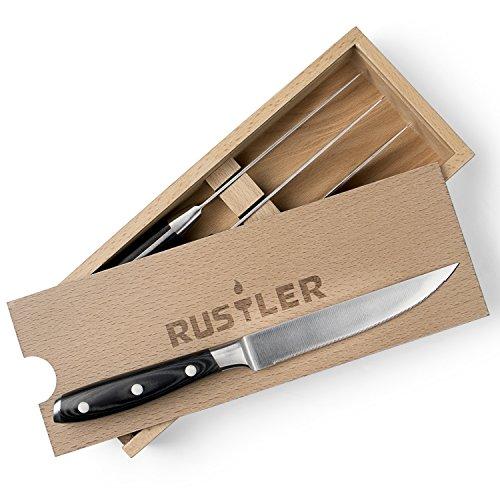 Rustler Steakmesser 4er Set aus Edelstahl Steakbesteck mit ergonomischen Stahl-Griffen Micarta-Holz und Drei-Nieten-Design inklusive hochwertiger Holz Aufbewahrungsbox