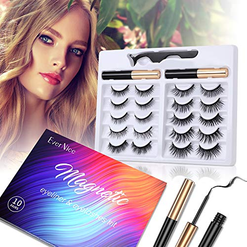 EverNice 2020 Upgraded Magnetic Eyelashes with Eyeliner,10 Pairs Magnetic Lashes Set with 2 Eyeliner and Tweezers, All Day Long Lasting, Easy to Wear,Natural Look-No Glue Needed