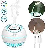 KZOBYD USB Luftbefeuchter mit Mini-Fan, 380ml Ultraschall Duftlampe mit automatischer Abschaltung und Nachtlichtfunktion,Ultra Leise für zuhause,Yoga,Büro,SPA,Schlafzimmer(Weiß)
