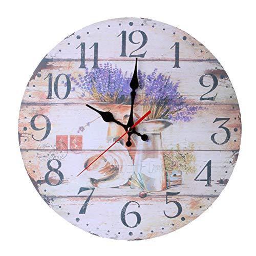 Vosarea Reloj de Pared de Madera Vintage país rústico Reloj para Cocina...