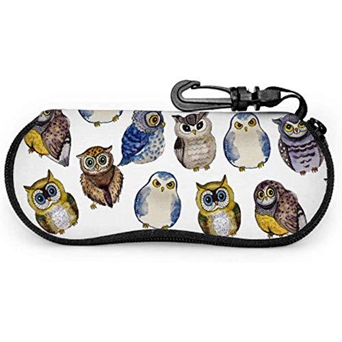 Owl Animal Big Eye Animal Night Estuche de gafas personalizadas Kid Eyeglass CaseZipper Soft Case Bike Sunglasses Case