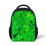 Mädchen und Jungen Schulrucksäcke Kinderrucksack Grünes Pflanzenblatt Kleeblatt Rucksaecke Große Backpack Wanderrucksack für Kinder C065 ONE Size
