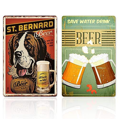 2 Pezzi Bar Birra Pittura di Latta,Targa in Metallo Vintage/Vintage Targa in Metallo, Decorativo per Bar Caffetteria Pub Birra Casa, Bar Sfondo Decorazione della Parete, 20 cm x 30 cm