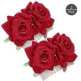 OOTSR 2 piezas de pinza de pelo flor rosa, rosa roja horquilla para mujeres niñas boda accesorios para el cabello
