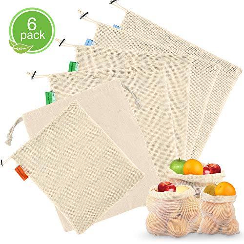 Samione Sacchetti di Frutta e Verdura, Riutilizzabili Borse per Frutta/Sacchetti per Alimentari in Cotone Organico Lavabile per la Spesa, Conservare Frutta, Verdura e Giocattoli - 6 Pezzi