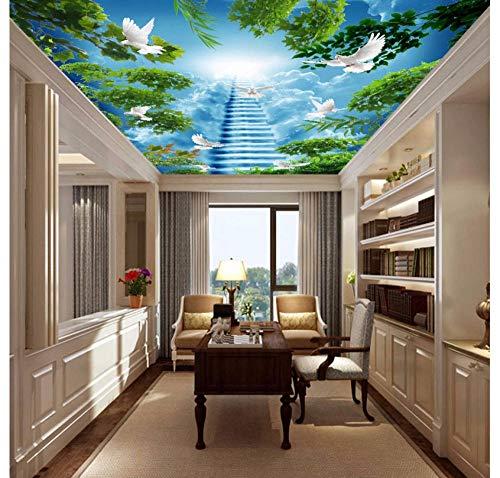 Fotobehang aangepaste 3D-behang HD groene plant boom vliegende vogel hemel trap plafond muurschildering decoratie slaapkamer woonkamer eetkamer achtergrond muur 450(w)x300(H)cm