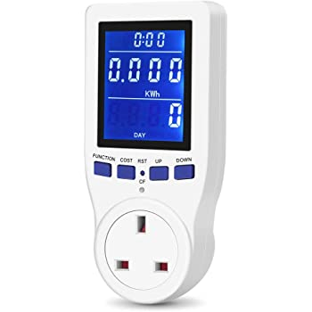 Electricity Usage Monitor Socket with LCD Display for Calculating Energy Cost Power Consumption Watts Amps UK Plug Power Meter Gifort Upgraded Energy Monitor AC 185V~264V Power Consumption Meter