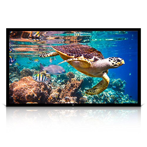 """Pyle 120"""" Projector Screen Matte White Home Theater TV Wall Mounted Fixed Flat w/ 16:9 Aspect Ratio Full HD Projection - Easy Mount Ideal for Office Presentation PRJTPFL122 Black"""