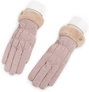 JCCOZ Touch Screen Gloves Ladies Gloves Autumn and Winter Plus Velvet Thickening Outdoor Warm Driving Cycling Skiing Five Fingers Can Touch The Screen (Color : C)