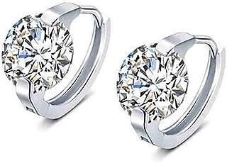 Crystal Tiny Small Hoop Earrings Sterling Silver Cartilage Sleeper Round Huggies Hoops 10mm for Women Girls