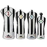 Artesano Golf negro con blanco rayas serie para cabeza de palo de golf driver madera Ut...