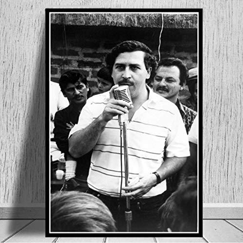 QINGRENJIE Plakate und Drucke Pablo Escobar Charakter Legende Retro Poster Wandkunst Bild Leinwand Malerei für Raum Wohnkultur 50X70 cm ohne Rahmen