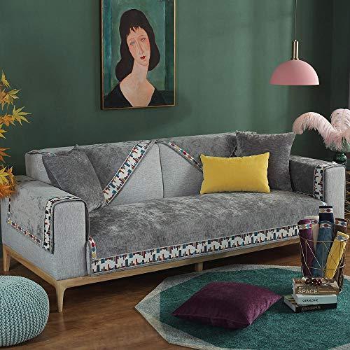 YUTJK Chenille Schlafsofa, Für Haustiere Couch Sofa Überwürfe, Anti-rutsch Übergroßen Spitze Couch Sofa Überwürfe Couch-Shield, Sofaschoner, Für Ledersofas, Grau