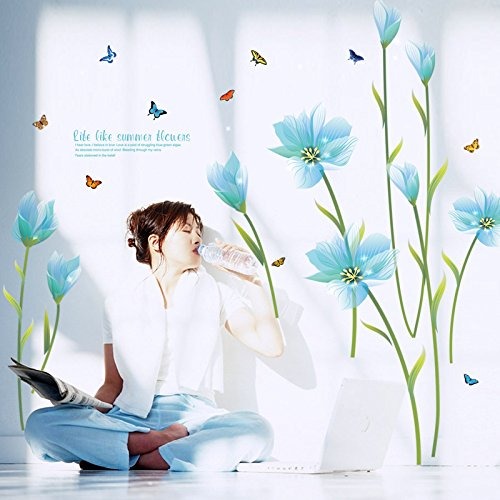 Blue Lily Wall Stickers Flowers Removable Mural Vinyl Decal TV Sofa Living Room Backdrop Wallpaper Home Decoration by Clest F&H
