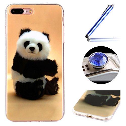 Etsue Doux Protecteur Coque pour iPhone 7 Plus,TPU Matériau Frame est Transparent Soft Cover pour iPhone 7 Plus,Coloré Motif par Dessin de Mode Case Coque pour iPhone 7 Plus + 1 x Bleu stylet + 1 x Bling poussière plug (couleurs aléatoires)- Panda