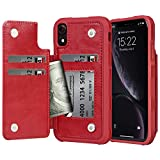 Arae Case for iPhone Xr - Wallet Case with PU Leather Card Pockets [Shockproof] Back Flip Cover for iPhone Xr 6.1 inch [not for xs] (Wine red)