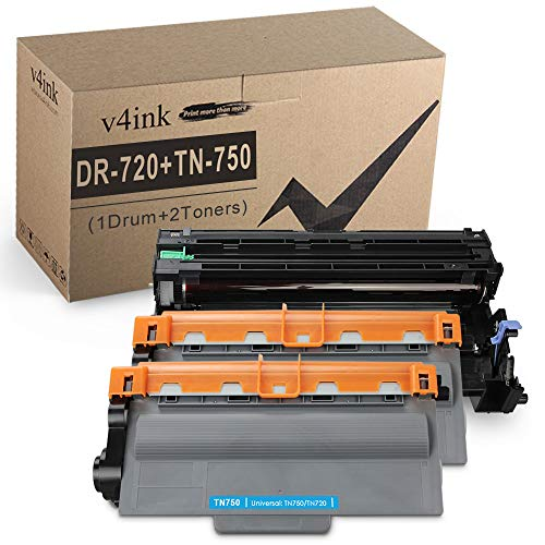 V4INK Compatible Toner Cartridge and Drum Set Replacement for Brother TN750 DR720 (1 Drum + 2 Toners) for Brother hl-5470dw hl-5470dwt mfc-8710dw mfc-8950dw mfc-8910dw dcp-8110dn dcp-8150dn Printer