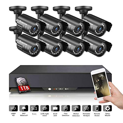 Rraycom 8CH Security Camera System 1080P Lite 5 in 1 DVR with 1TB Hard Drive and (8) 1080P HD Outdoor/Indoor IP67 Weatherproof CCTV Surveillance Cameras,115ft Night Vision,Motion Alert, Remote Access