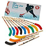 Kicko Hockey Pencils - 9 Inch Sports Pencil - 12 Pack Assorted Hockey Pencil with A Blade - Educational Party Favors - Sports theme for Birthday Parties and School Prizes