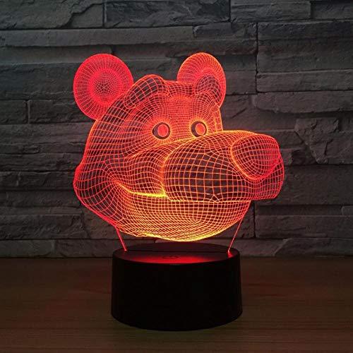 Beer 7 kleuren lamp 3D Visual LED Nachtlampje voor kinderen Touch USB tafellamp baby slapen nacht licht Motion Light
