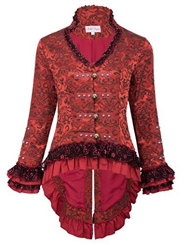 Belle Poque Donna Vivtoriana Vintage Jacket Black Tail Donna Cappotto Vintage Abbigliamento L 2#