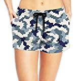 ERCGY Women's Elastic Waist Casual Beach Shorts Drawstring Badminton Shorts Swim Trunks -