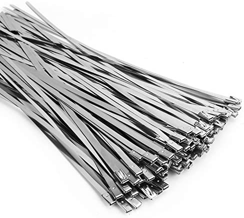 100PCS 11 8 Inch Metal Cable Zip Ties 304 Stainless Steel Multi purpose Heavy Duty Self locking product image