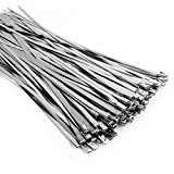 (100PCS 11.8 Inch) Metal Cable Zip Ties, 304 Stainless Steel, Multi-purpose Heavy Duty Self-locking Cable Ties,Suitable for Exhaust Wrapping, Fence, Outdoor and Canopy Etc.