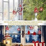 Camelize Stück Holz Weihnachten Deko Weihnachten Holzanhänger Weihnachstbaum Schmuck Natürlicher Christbaum-Behang für Weihnachten Geschenke DIY Handwerk Basteln - 4