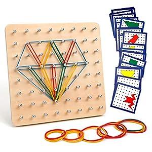 Homealexa Holz Geoboard Set Geometriebrett Montessori Holz Spielzeug für Kinder, Inspirieren die Phantasie und Kreativität des Kinders