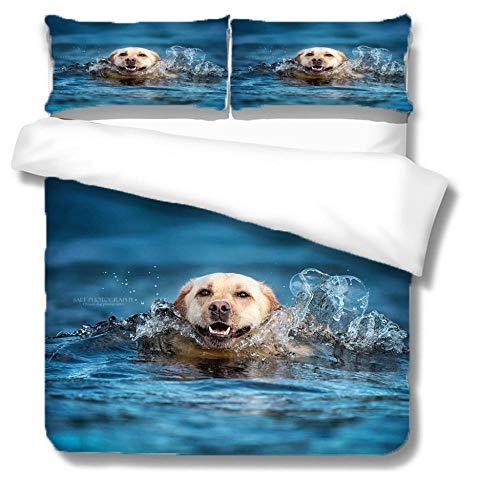 Duvet Cover Double Swimming Animal Golden Retriever Dog For Boys Teens 3D Pattern Bedding Set Printing Comforter Cover With 2 Pillow Zipper Microfiber,135X200