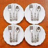 Odoria 1/12 Miniatura 4pz Platos y 12pz Cubiertos Cocina Accesorio para Casa de Muñecas