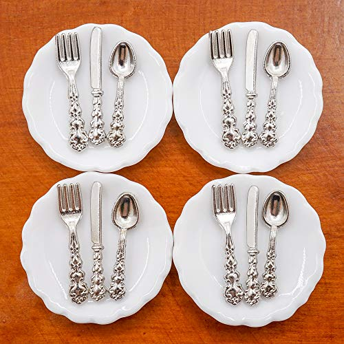 Odoria 1/12 Miniatur 4 Stück Teller und 12 Stück Besteck Puppenhaus Küche Zubehör