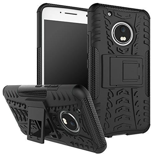 Moto G5 Plus Case,Moto G Plus (5th Generation) Case, DINGXIN [Shockproof] Tough Rugged Dual Layer Protective Case Cover [with Kickstand] for Motorola Moto G5 Plus (2017) (Black, Moto G5 Plus)