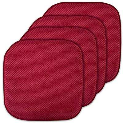 """Sweet Home Collection Cushion Memory Foam Chair Pads Honeycomb Nonslip Back Seat Cover 16"""" x 16"""" 4 Pack Red"""